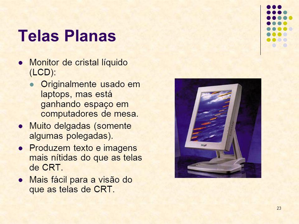 23 Telas Planas Monitor de cristal líquido (LCD): Originalmente usado em laptops, mas está ganhando espaço em computadores de mesa. Muito delgadas (so