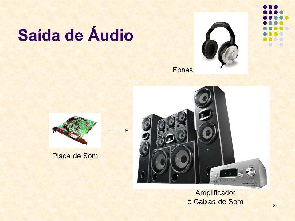 25 Saída de Áudio Placa de Som Amplificador e Caixas de Som Fones