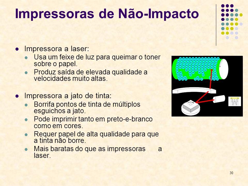 30 Impressoras de Não-Impacto Impressora a laser: Usa um feixe de luz para queimar o toner sobre o papel. Produz saída de elevada qualidade a velocida