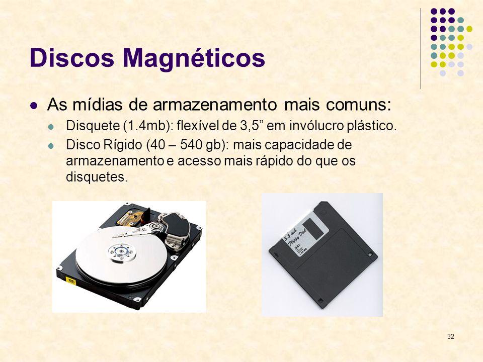 32 Discos Magnéticos As mídias de armazenamento mais comuns: Disquete (1.4mb): flexível de 3,5 em invólucro plástico. Disco Rígido (40 – 540 gb): mais