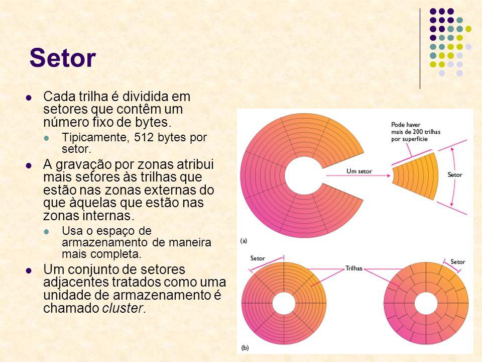 35 Setor Cada trilha é dividida em setores que contêm um número fixo de bytes. Tipicamente, 512 bytes por setor. A gravação por zonas atribui mais set