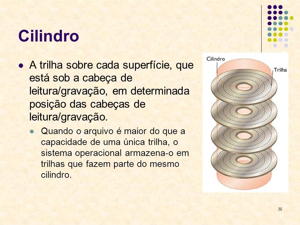 36 Cilindro A trilha sobre cada superfície, que está sob a cabeça de leitura/gravação, em determinada posição das cabeças de leitura/gravação.