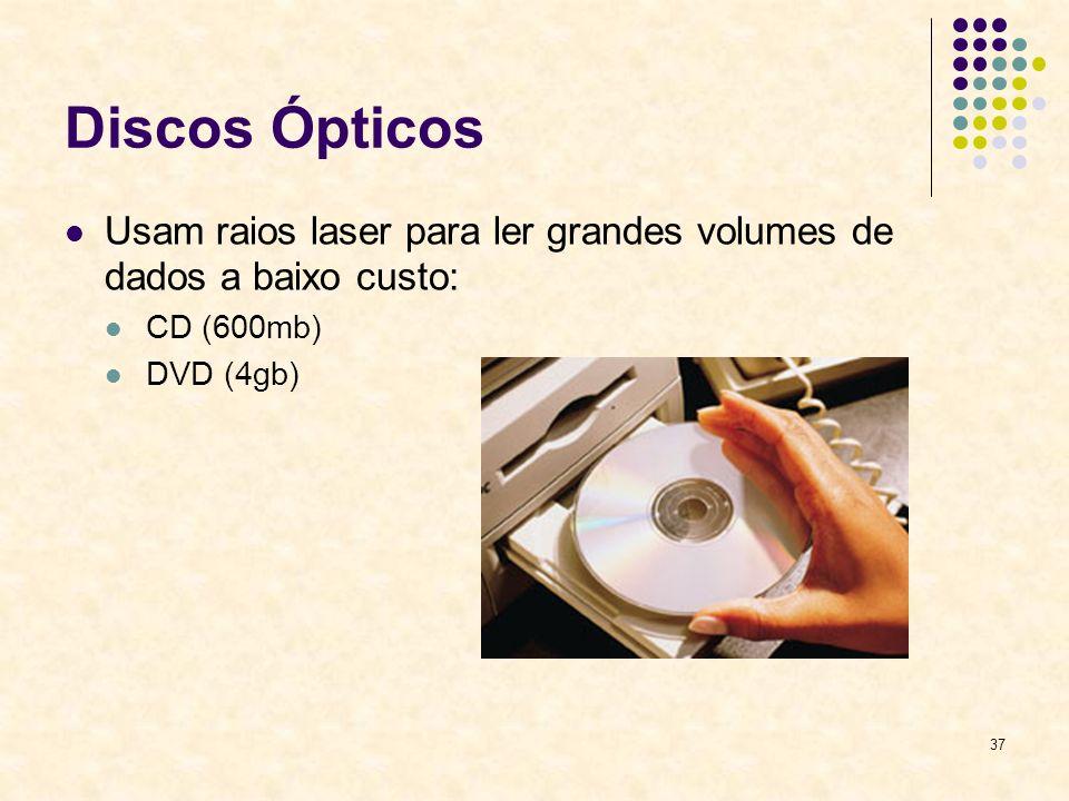 37 Discos Ópticos Usam raios laser para ler grandes volumes de dados a baixo custo: CD (600mb) DVD (4gb)