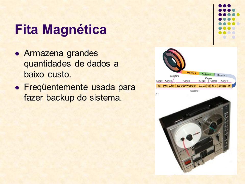 38 Fita Magnética Armazena grandes quantidades de dados a baixo custo. Freqüentemente usada para fazer backup do sistema.