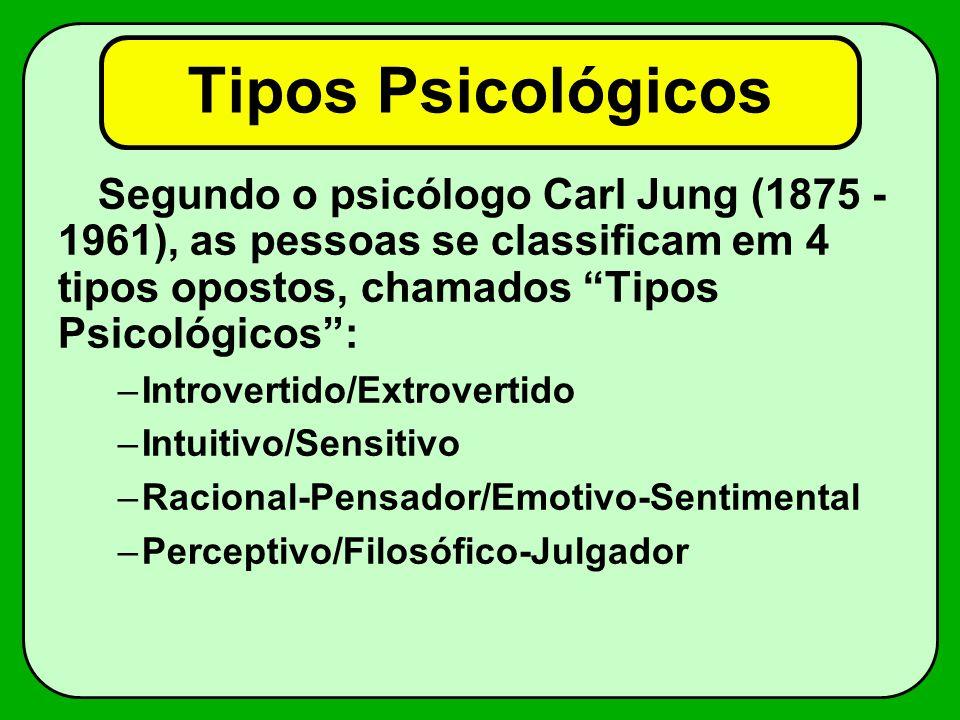 Tipos Psicológicos Emotivo Racional ExtrovertidoIntrovertido Sensitivo Energia Intuitivo Atenção Decisão Vivência Perceptivo Julgador