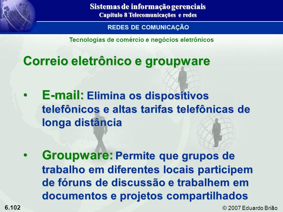 6.102 © 2007 Eduardo Brião Correio eletrônico e groupware E-mail: Elimina os dispositivos telefônicos e altas tarifas telefônicas de longa distânciaE-