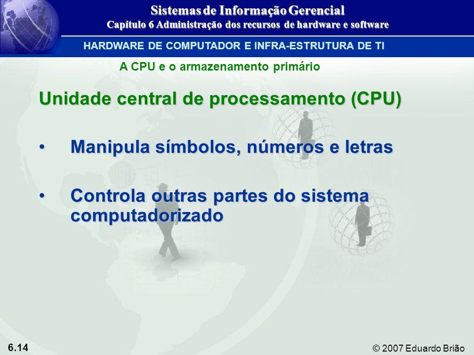 6.14 © 2007 Eduardo Brião A CPU e o armazenamento primário Unidade central de processamento (CPU) Manipula símbolos, números e letrasManipula símbolos