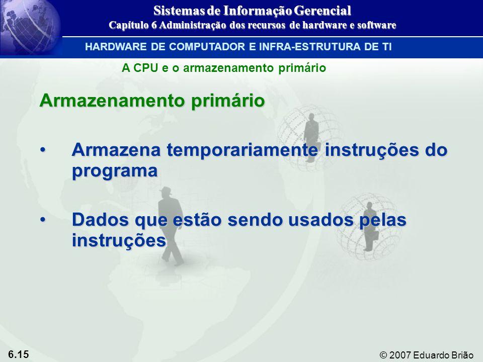 6.15 © 2007 Eduardo Brião Armazenamento primário Armazena temporariamente instruções do programaArmazena temporariamente instruções do programa Dados