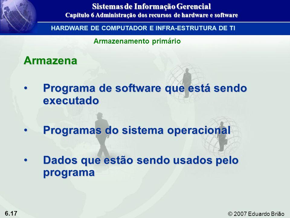 6.17 © 2007 Eduardo Brião Armazenamento primário Armazena Programa de software que está sendo executadoPrograma de software que está sendo executado P
