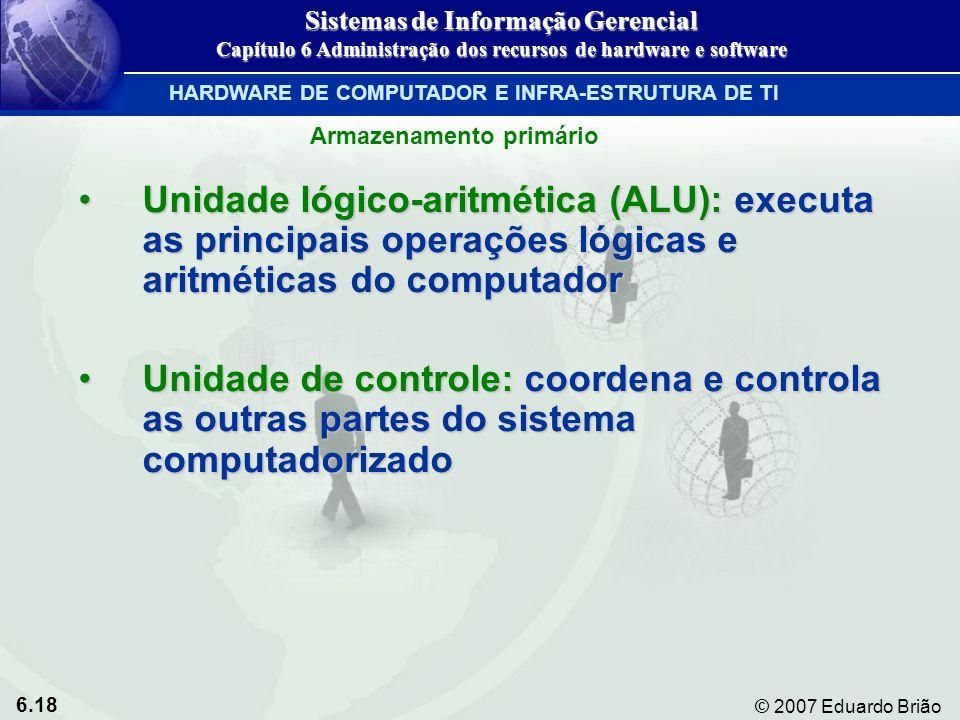 6.18 © 2007 Eduardo Brião Unidade lógico-aritmética (ALU): executa as principais operações lógicas e aritméticas do computadorUnidade lógico-aritmétic