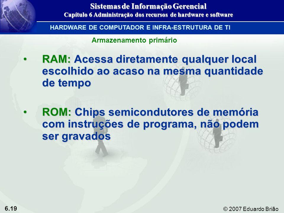 6.19 © 2007 Eduardo Brião RAM: Acessa diretamente qualquer local escolhido ao acaso na mesma quantidade de tempoRAM: Acessa diretamente qualquer local
