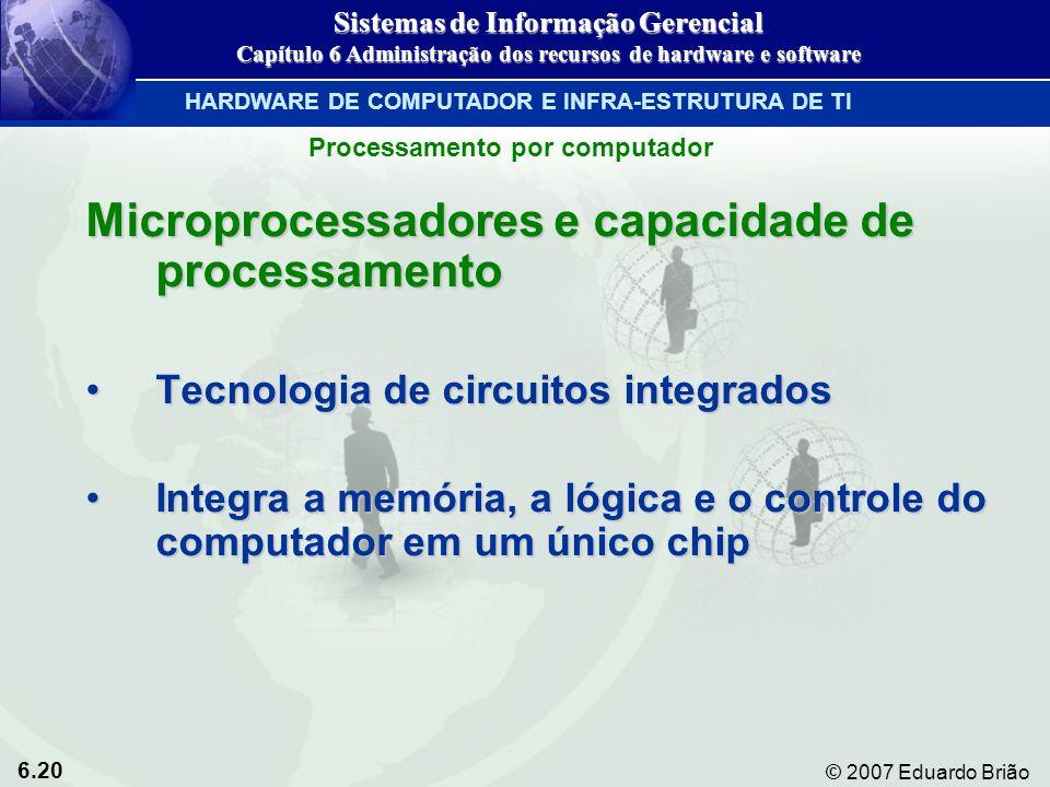 6.20 © 2007 Eduardo Brião Processamento por computador Microprocessadores e capacidade de processamento Tecnologia de circuitos integradosTecnologia d