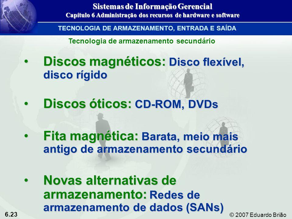 6.23 © 2007 Eduardo Brião Discos magnéticos: Disco flexível, disco rígidoDiscos magnéticos: Disco flexível, disco rígido Discos óticos: CD-ROM, DVDsDi