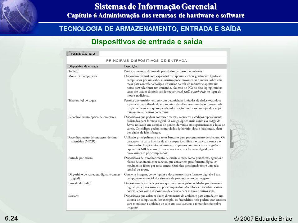 6.24 © 2007 Eduardo Brião Dispositivos de entrada e saída Sistemas de Informação Gerencial Capítulo 6 Administração dos recursos de hardware e softwar