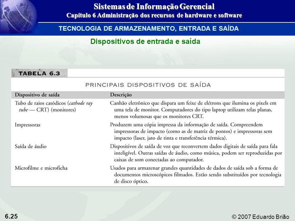 6.25 © 2007 Eduardo Brião Sistemas de Informação Gerencial Capítulo 6 Administração dos recursos de hardware e software TECNOLOGIA DE ARMAZENAMENTO, E