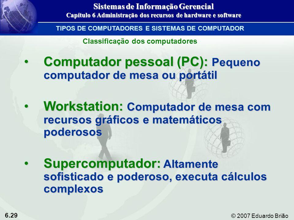 6.29 © 2007 Eduardo Brião Computador pessoal (PC): Pequeno computador de mesa ou portátilComputador pessoal (PC): Pequeno computador de mesa ou portát