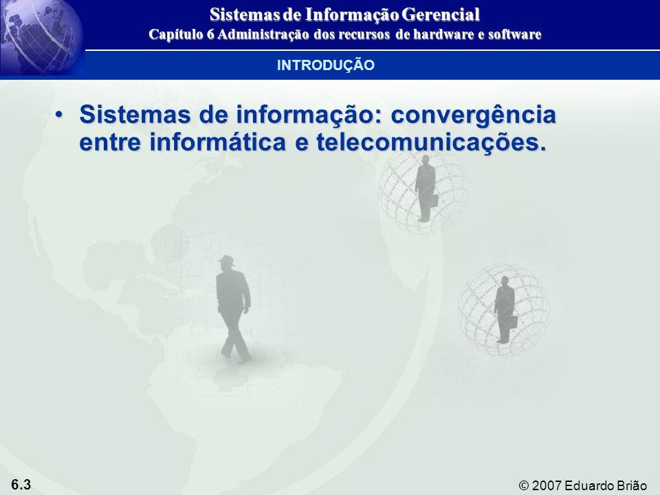 6.24 © 2007 Eduardo Brião Dispositivos de entrada e saída Sistemas de Informação Gerencial Capítulo 6 Administração dos recursos de hardware e software TECNOLOGIA DE ARMAZENAMENTO, ENTRADA E SAÍDA