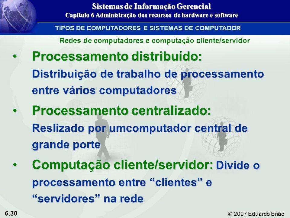 6.30 © 2007 Eduardo Brião Redes de computadores e computação cliente/servidor Processamento distribuído: Distribuição de trabalho de processamento ent