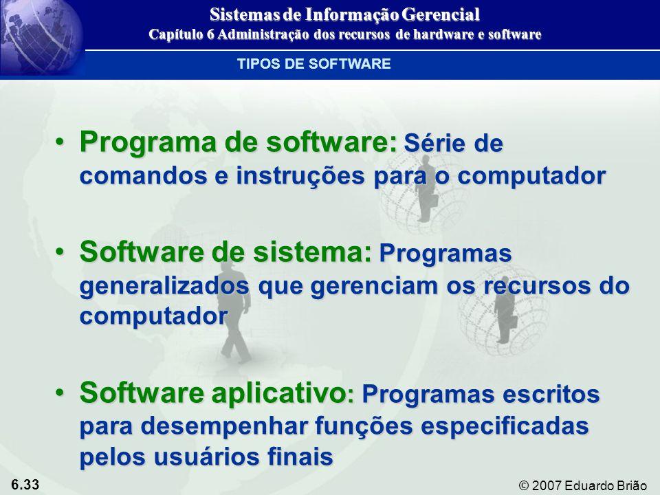 6.33 © 2007 Eduardo Brião Programa de software: Série de comandos e instruções para o computadorPrograma de software: Série de comandos e instruções p