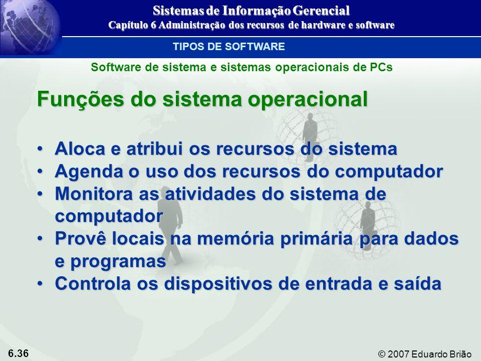 6.36 © 2007 Eduardo Brião Funções do sistema operacional Aloca e atribui os recursos do sistemaAloca e atribui os recursos do sistema Agenda o uso dos