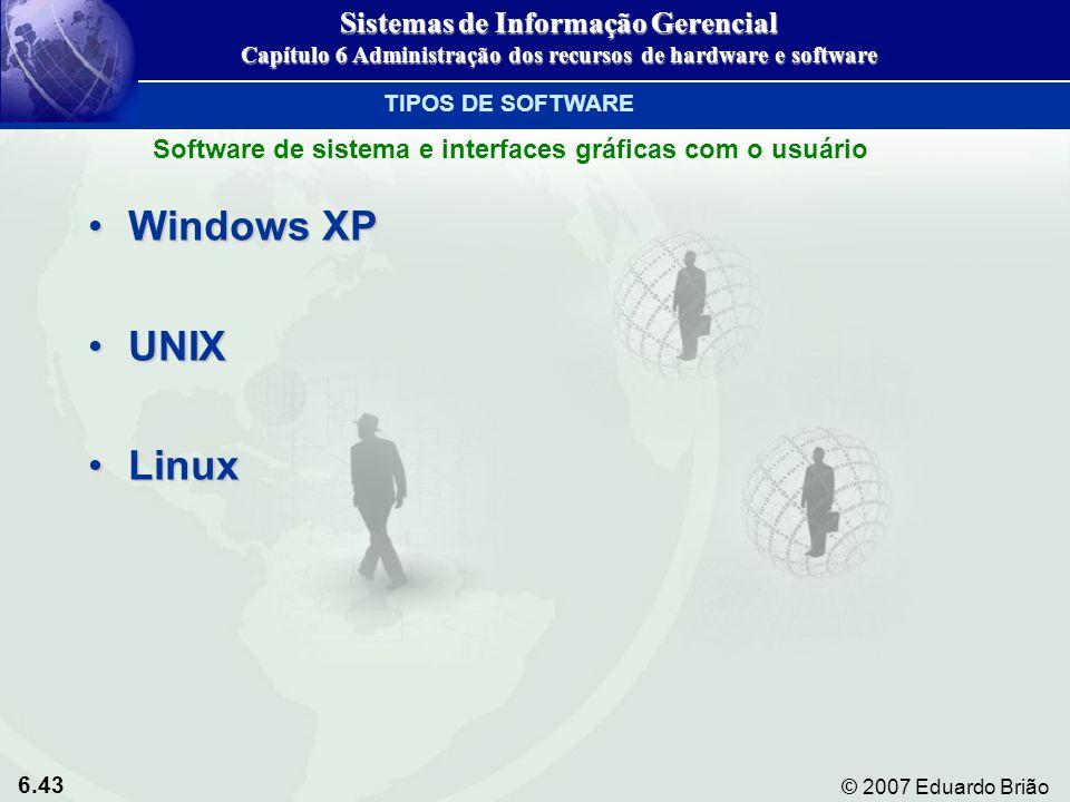 6.43 © 2007 Eduardo Brião Windows XPWindows XP UNIXUNIX LinuxLinux TIPOS DE SOFTWARE Sistemas de Informação Gerencial Capítulo 6 Administração dos rec