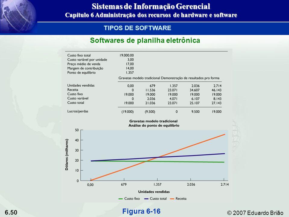 6.50 © 2007 Eduardo Brião TIPOS DE SOFTWARE Softwares de planilha eletrônica Figura 6-16 Sistemas de Informação Gerencial Capítulo 6 Administração dos