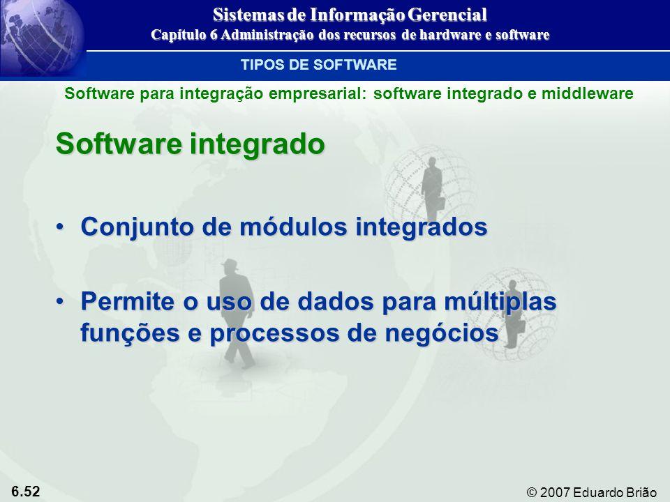 6.52 © 2007 Eduardo Brião Software integrado Conjunto de módulos integradosConjunto de módulos integrados Permite o uso de dados para múltiplas funçõe