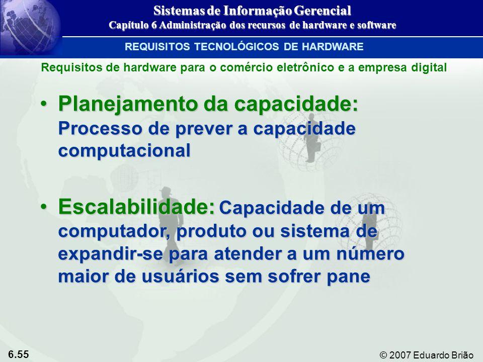 6.55 © 2007 Eduardo Brião Planejamento da capacidade: Processo de prever a capacidade computacionalPlanejamento da capacidade: Processo de prever a ca