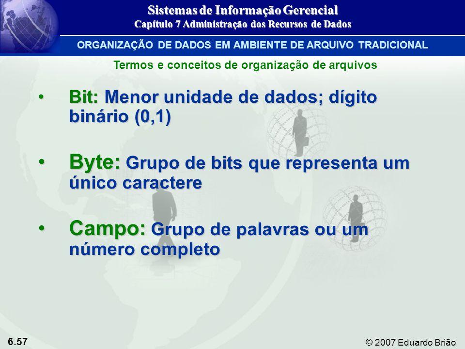 6.57 © 2007 Eduardo Brião Termos e conceitos de organização de arquivos Bit: Menor unidade de dados; dígito binário (0,1)Bit: Menor unidade de dados;