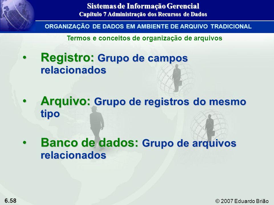 6.58 © 2007 Eduardo Brião Registro: Grupo de campos relacionadosRegistro: Grupo de campos relacionados Arquivo: Grupo de registros do mesmo tipoArquiv