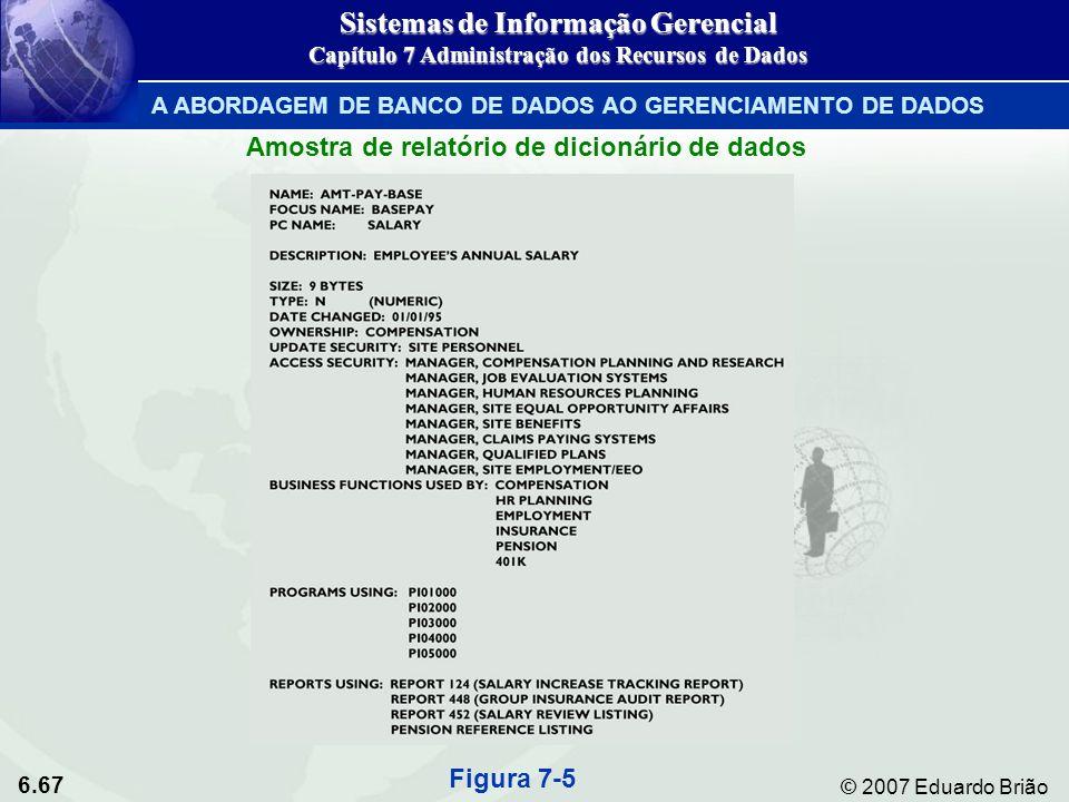 6.67 © 2007 Eduardo Brião Amostra de relatório de dicionário de dados Figura 7-5 Sistemas de Informação Gerencial Capítulo 7 Administração dos Recurso