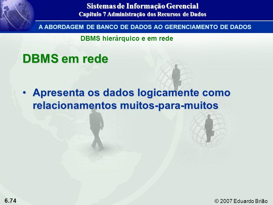 6.74 © 2007 Eduardo Brião DBMS em rede Apresenta os dados logicamente como relacionamentos muitos-para-muitosApresenta os dados logicamente como relac