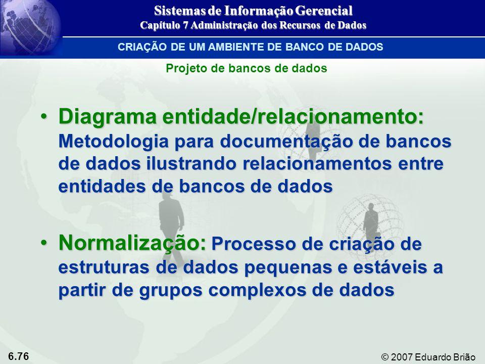 6.76 © 2007 Eduardo Brião Diagrama entidade/relacionamento: Metodologia para documentação de bancos de dados ilustrando relacionamentos entre entidade