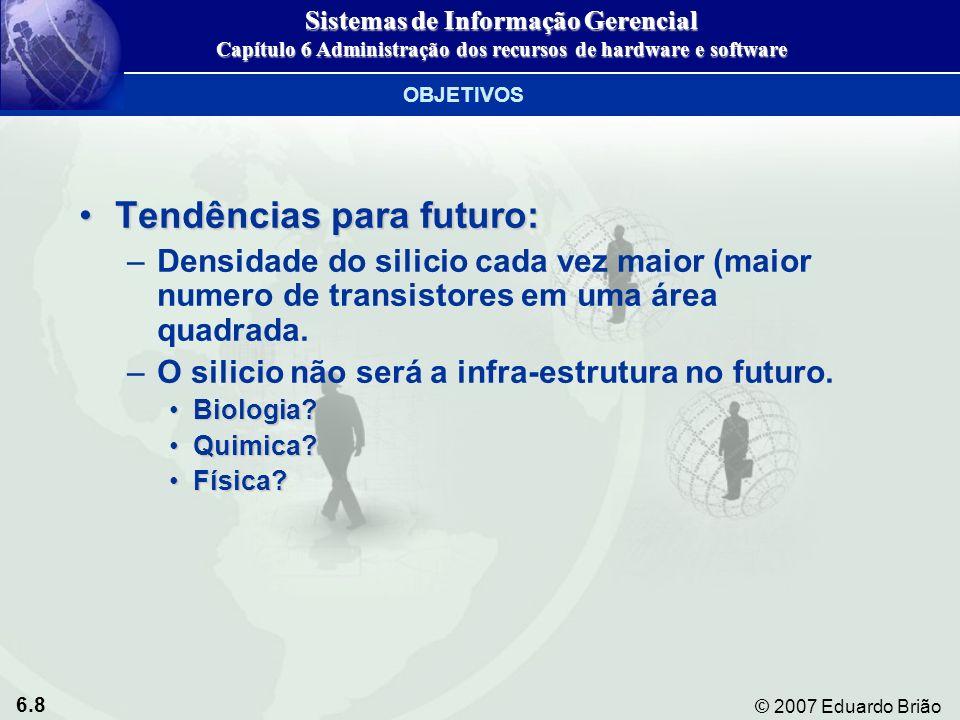 6.59 © 2007 Eduardo Brião Hierarquia de dados em um sistema de computador Figura 7-1 Sistemas de Informação Gerencial Capítulo 7 Administração dos Recursos de Dados ORGANIZAÇÃO DE DADOS EM AMBIENTE DE ARQUIVO TRADICIONAL