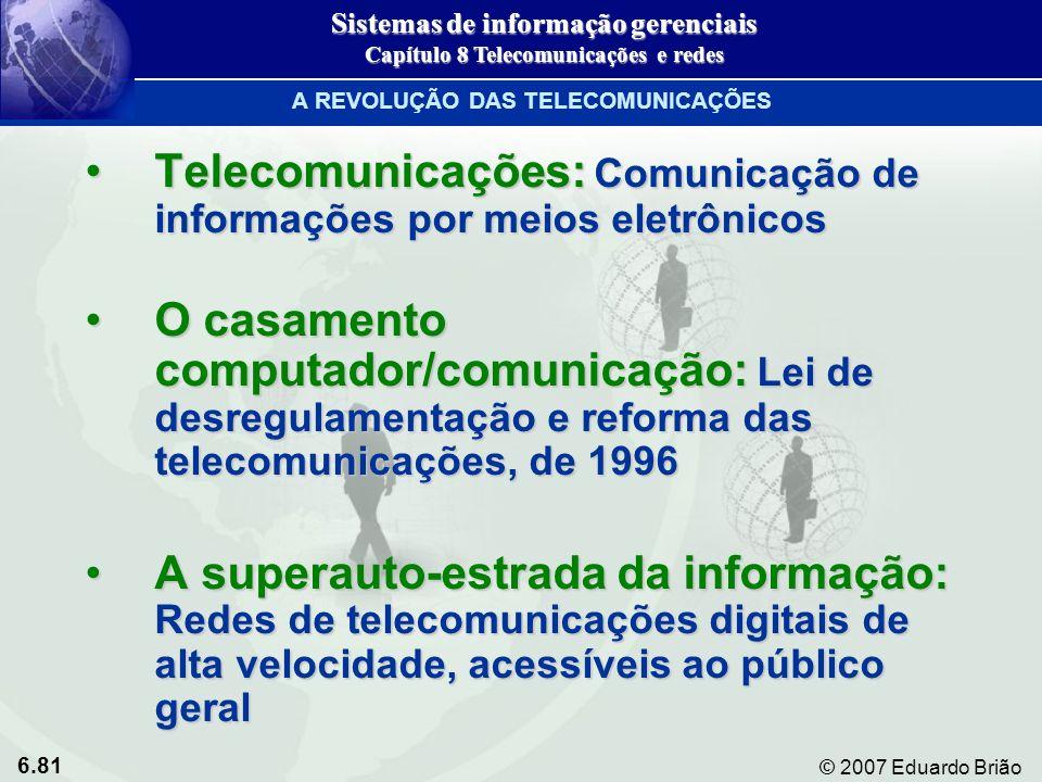 6.81 © 2007 Eduardo Brião A REVOLUÇÃO DAS TELECOMUNICAÇÕES Telecomunicações: Comunicação de informações por meios eletrônicosTelecomunicações: Comunic