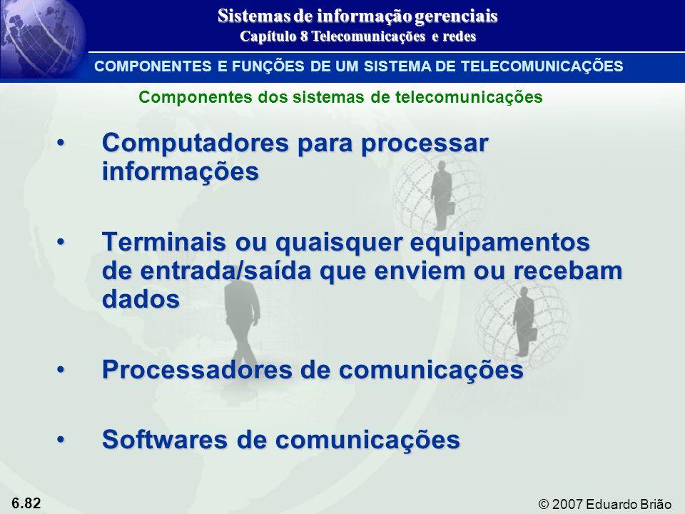 6.82 © 2007 Eduardo Brião COMPONENTES E FUNÇÕES DE UM SISTEMA DE TELECOMUNICAÇÕES Computadores para processar informaçõesComputadores para processar i