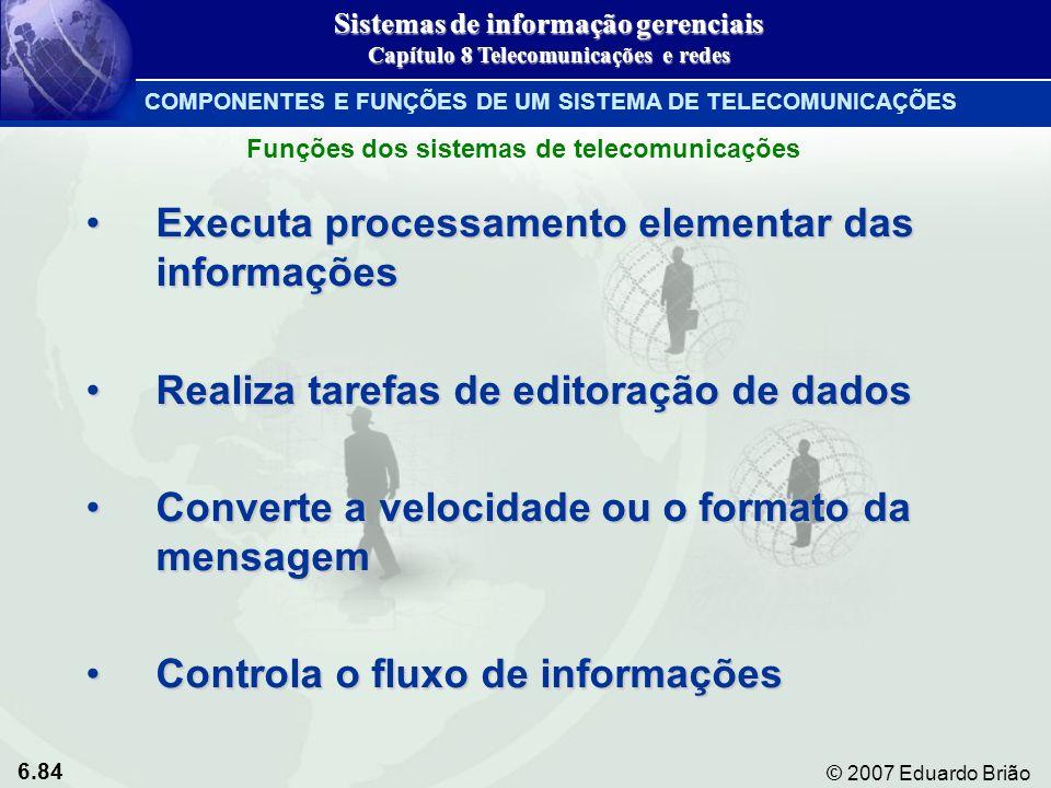 6.84 © 2007 Eduardo Brião Executa processamento elementar das informaçõesExecuta processamento elementar das informações Realiza tarefas de editoração