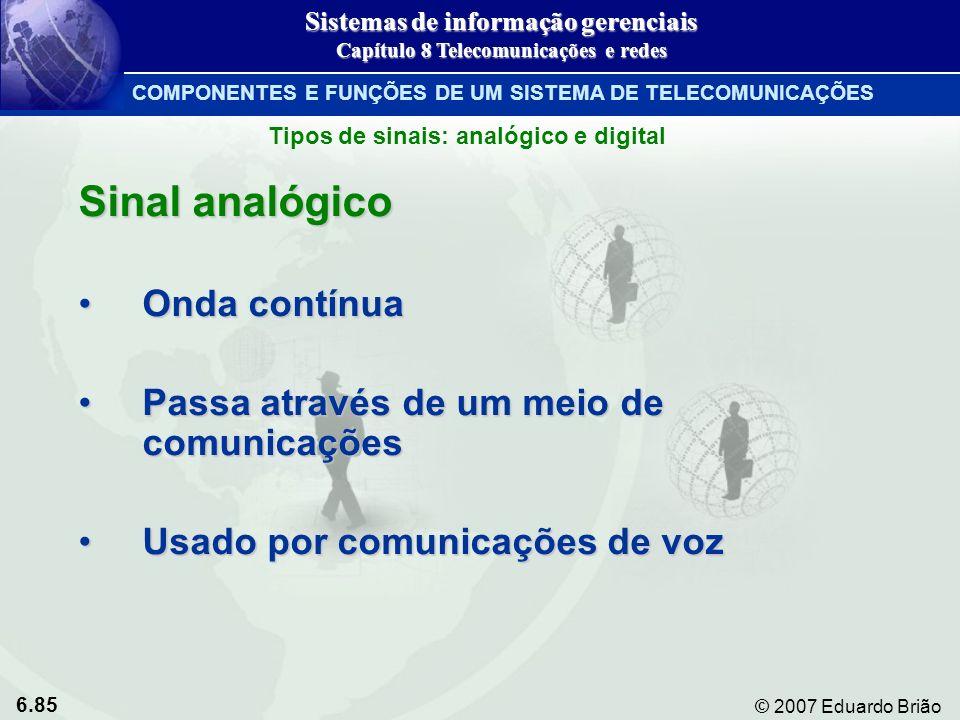 6.85 © 2007 Eduardo Brião Sinal analógico Onda contínuaOnda contínua Passa através de um meio de comunicaçõesPassa através de um meio de comunicações