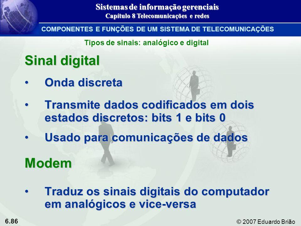 6.86 © 2007 Eduardo Brião Sinal digital Onda discretaOnda discreta Transmite dados codificados em dois estados discretos: bits 1 e bits 0Transmite dad