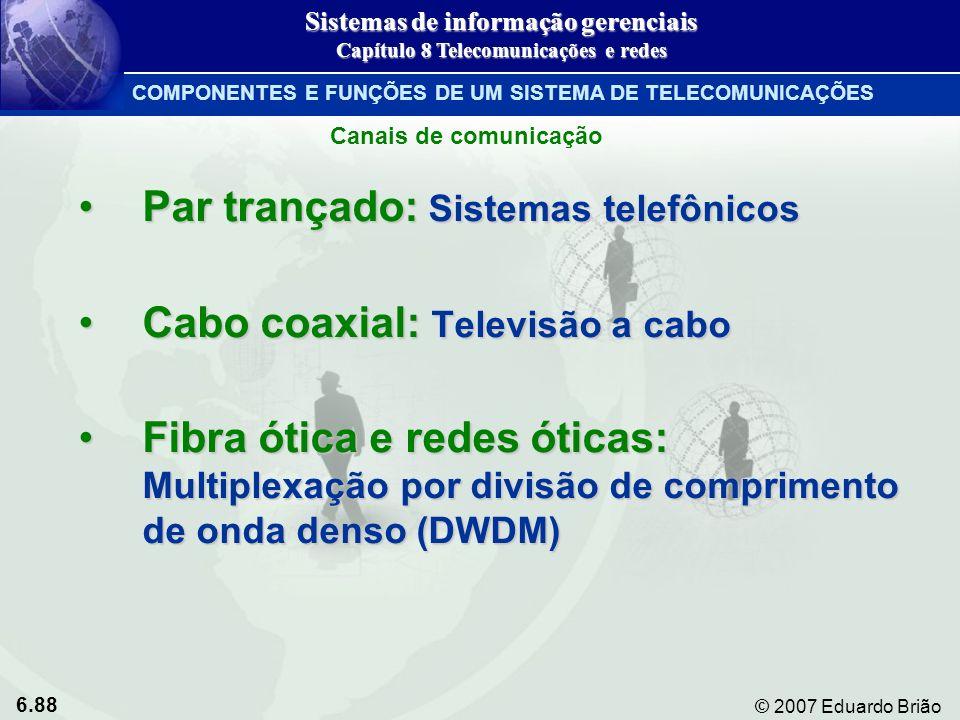 6.88 © 2007 Eduardo Brião Par trançado: Sistemas telefônicosPar trançado: Sistemas telefônicos Cabo coaxial: Televisão a caboCabo coaxial: Televisão a