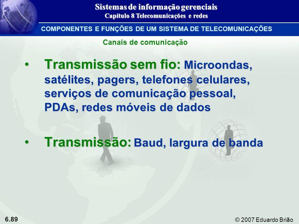 6.89 © 2007 Eduardo Brião Transmissão sem fio: Microondas, satélites, pagers, telefones celulares, serviços de comunicação pessoal, PDAs, redes móveis