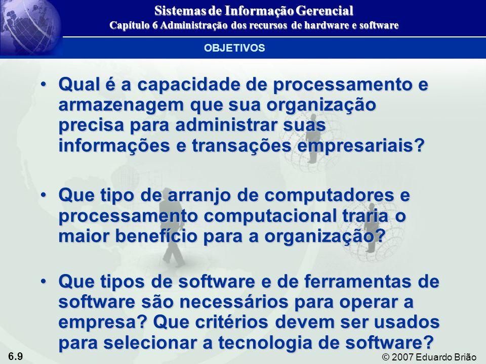 6.40 © 2007 Eduardo Brião Tempo compartilhado Compartilhamento de recursos computacionais por muitos usuários simultaneamenteCompartilhamento de recursos computacionais por muitos usuários simultaneamenteMultiprocessamento Execução de duas ou mais instruções simultaneamente em um único sistema, usando mais de uma CPUExecução de duas ou mais instruções simultaneamente em um único sistema, usando mais de uma CPU TIPOS DE SOFTWARE Sistemas de Informação Gerencial Capítulo 6 Administração dos recursos de hardware e software Software de sistema e sistemas operacionais de PCs