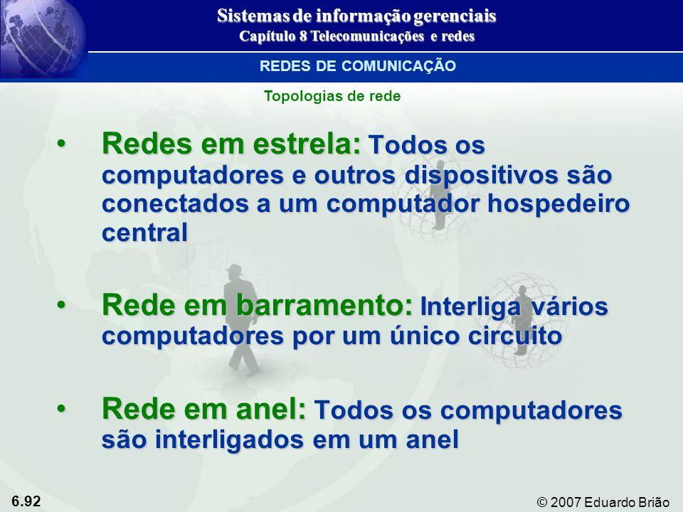 6.92 © 2007 Eduardo Brião Redes em estrela: Todos os computadores e outros dispositivos são conectados a um computador hospedeiro centralRedes em estr