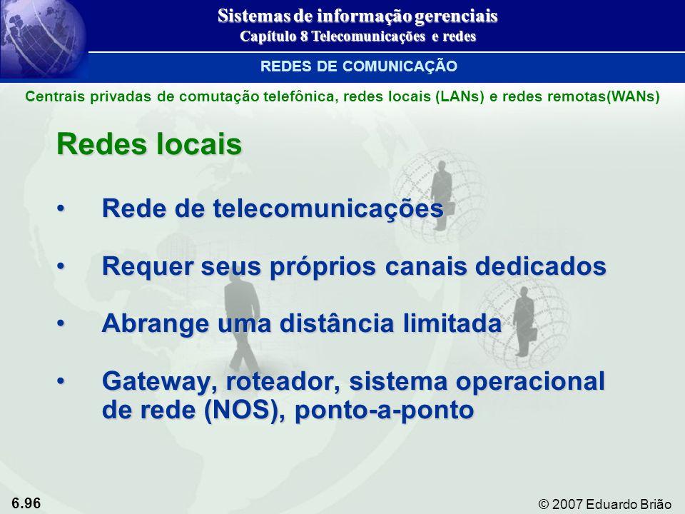 6.96 © 2007 Eduardo Brião Redes locais Rede de telecomunicaçõesRede de telecomunicações Requer seus próprios canais dedicadosRequer seus próprios cana