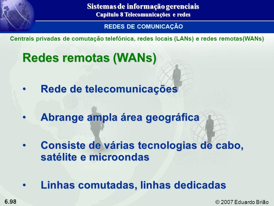 6.98 © 2007 Eduardo Brião Redes remotas (WANs) Rede de telecomunicaçõesRede de telecomunicações Abrange ampla área geográficaAbrange ampla área geográ