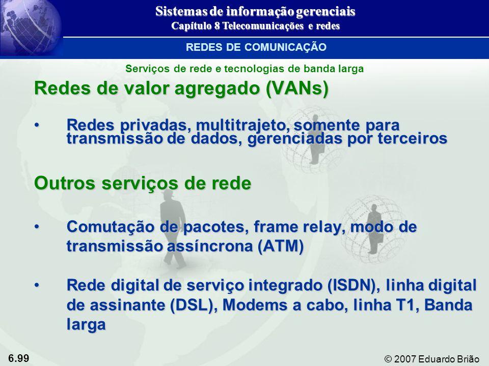 6.99 © 2007 Eduardo Brião Redes de valor agregado (VANs) Redes privadas, multitrajeto, somente para transmissão de dados, gerenciadas por terceirosRed