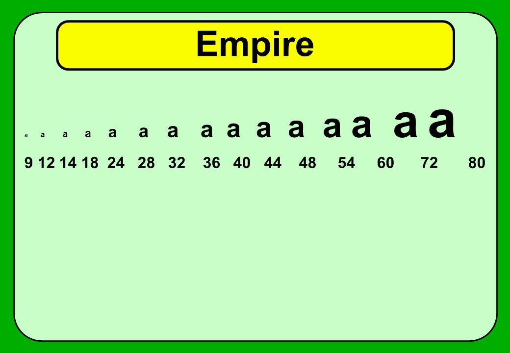 Empire a a a a a a a a a a a a a a a 9 12 14 18 24 28 32 36 40 44 48 54 60 72 80