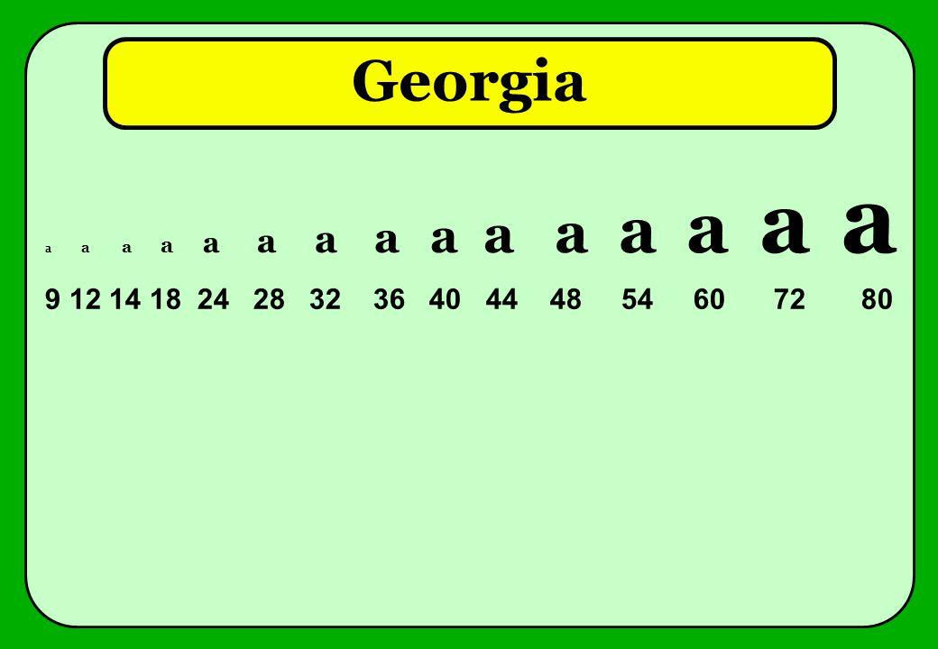 Georgia a a a a a a a a a a a a a a a 9 12 14 18 24 28 32 36 40 44 48 54 60 72 80