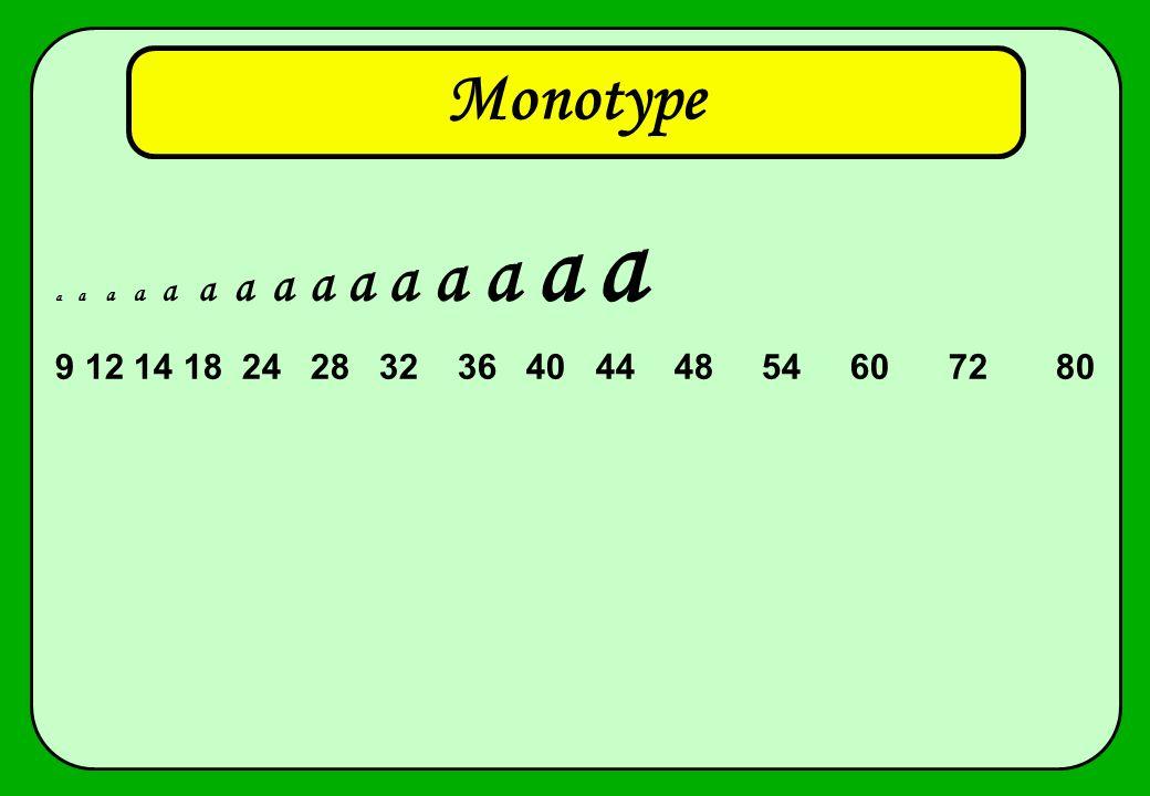 Monotype a a a a a a a a a a a a a a a 9 12 14 18 24 28 32 36 40 44 48 54 60 72 80