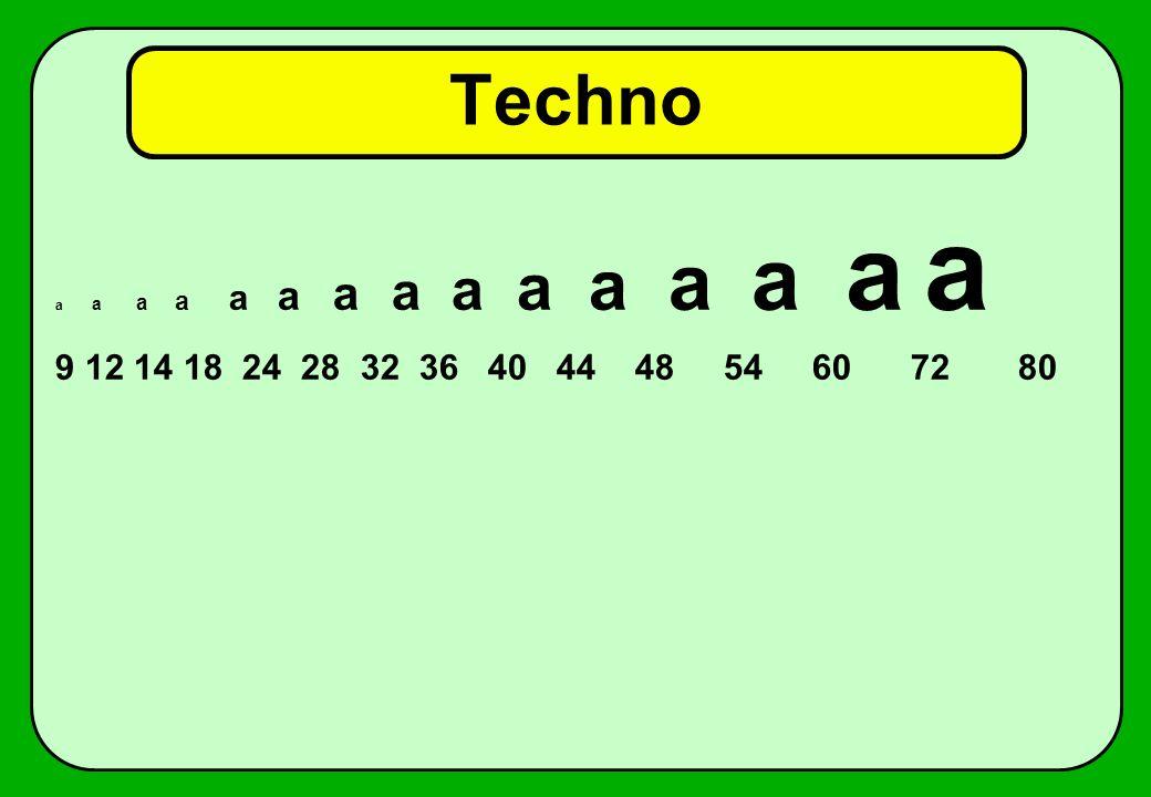 Techno a a a a a a a a a a a a a a a 9 12 14 18 24 28 32 36 40 44 48 54 60 72 80